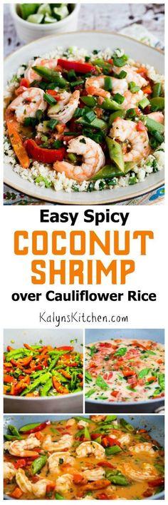 Easy Spicy Coconut Milk Shrimp (over Cauliflower Rice or Rice); this ...