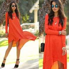 vestidos夏シフォンドレスファッション不規則なビーチドレス大きいサイズの女性の夏の衣類女性服のオレンジ色の長い袖(China (Mainland))