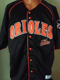 BALTIMORE ORIOLES DYNASTY TRUE FAN EMBROIDERED BUTTON DOWN JERSEY ADULT XLARGE #Dynasty #BaltimoreOrioles