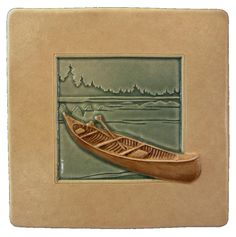 Art tile, Canoe, 4x4 inches,  home decor by MedicineBluffStudio on Etsy