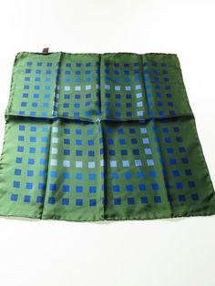 Turnbull & Asser silk pocket square green blue squares - Tweedmans Vintage