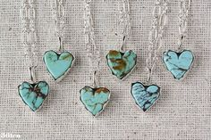 Simply adorable !                      .  Small Turquoise Heart Necklace sterling silver by 36ten on Etsy, $49.00