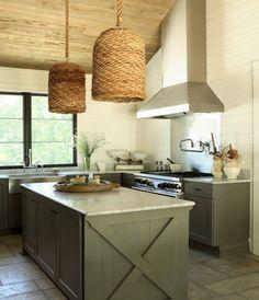 farmhouse kitchen, X island detail, woven pendants, shiplap walls, painted cabinets