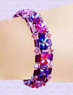 Schema - bracelet uses tilas, 4mm biconesa and 11/0 seed beads. ~ Seed Bead Tutorials