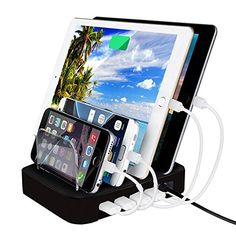 #BoxCave Universal 4-Port USB Charging Station for Smartphones 24W Charger Dock Organizer for Multiple Cellphones Tablet PC iPhone iPad Samsung Galaxy HTC etc. with BoxCave Mocrpfiber Cleaning Cloth