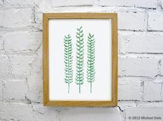Forest Fern Green Linocut Block Print Botanical by CoffeeInBed