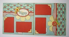NEW Be Happy Premade 12x12 two page layout by debbiesScrapArt