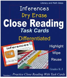~DIFFERENTIATED~ Close reading task cards.  Students highlight, circle, or underline information directly on the task cards.  The special answer key shows the text details that should be identified in the text.  This literacy center reinforces close reading skills during center time and makes scoring student close reading quick and easy. $