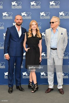 Wojciech Mecwaldowski, Paulina Chapkov and Jerzy Skolimowski attend a photocall for '11 Minutes' during the 72nd Venice Film Festival at Palazzo del Casino on September 9, 2015 in Venice, Italy.