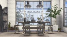 VINTAGE BAR DINING SET • 1 .rar file (contains 4 .package files - 2 bar tables & 2 bar seats) • Includes added deco slots and various swatches • Different polys for each LOD, but still quite high so...