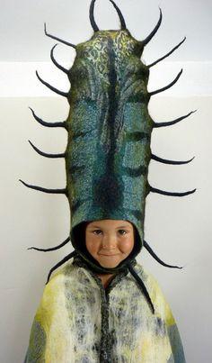 Gladys Paulus' felt headdresses for a bug, or a plant, or an alien or an alien bug plant.