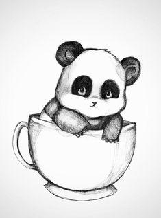 cute drawings of pandas Girl Drawing Sketches, Art Drawings Sketches Simple, Cool Art Drawings, Pencil Art Drawings, Cartoon Drawings, Easy Drawings, Drawings Of Animals, Cute Easy Animal Drawings, Drawing Ideas