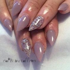 """#nails #gelnails #pointynails #stilettonails #nudenails #gelpolish #notpolish #glitter #glitternails"""