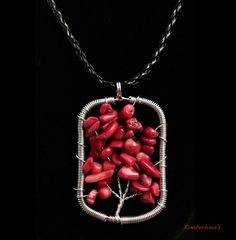 NEW - WIRE WRAP RECTANGLE SHAPED TREE OF LIFE RED STONE PENDANT NECKLACE #Handmade #Pendant