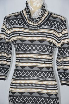Rhapsody Womens Medium Beige Black White 3/4 Sleeve Tunic Sweater Dress #Rhapsody #Tunic