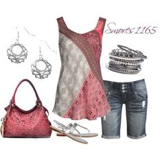 A fashion look from June 2014 featuring NIC+ZOE tops, Wet Seal shorts and Nine West sandals. Browse and shop related looks. Mode Outfits, Short Outfits, Spring Outfits, Casual Outfits, Fashion Outfits, Womens Fashion, Fashion Trends, Fashion Vest, Fashion Tips