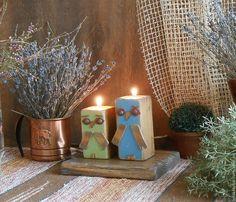 """Купить Подсвечники деревянные """"Оwlets"""" - синий, подсвечник из дерева, подсвечник для интерьера, подсвечник купить"""