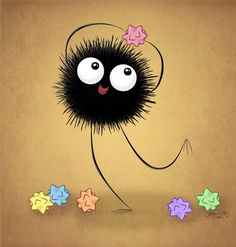 Soot sprite- I made three of these and taped them on the corner of my bedroom ceiling.