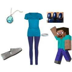 """Minecraft Outfit #1-Steve"" by yodeyo on Polyvore"
