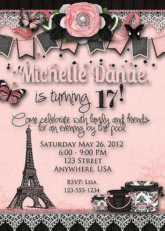 Paris Birthday Party Invitation - Eiffel Tower, Teen, Sweet 16, Woman, Pink