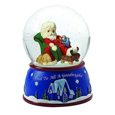 """Precious Moments, Christmas Gifts, """"Santa Sleeping In Recliner"""" Plays We Wish You A Merry Christmas, Musical Snow Globe"""