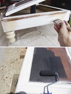 How to build a child's desk from a cabinet face, using a salvaged kitchen cabinet. Desk has a storage compartment, chalkboard, and holders for school supplies.