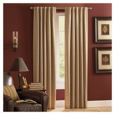 Shop Style Selections Roberta 84-in L Solid Natural Thermal Rod Pocket Curtain Panel at Lowes.com