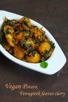 Aloo Methi Sabzi, Vegan Baby Potatoes Fenugreek Leaves Curry