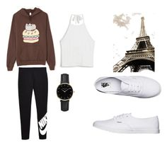 """""""Whatever"""" by rainacoat on Polyvore featuring Pusheen, Monki, NIKE, ROSEFIELD and Vans"""