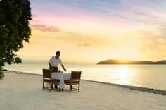Dining on Pebble Beach offers the ultimate view of the sun setting - and an unforgettable Qualia experience.