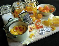 "Canning Peaches    12th scale dollhouse food - the board measures 2.5"" x 1.75"""