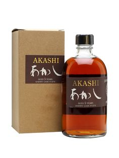 Akashi Single Malt Whisky is made at the White Oak distillery in the Hyogo prefecture. Matured for two years in sherry butts and three years in hogsheads, this is a lightly peated Japanese whisky.