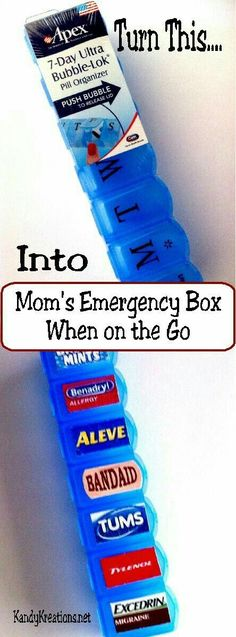 Make a quick and easy emergency first aid kit for your purse when you are on the go. Filled with the most important medicines you and your family will need, it's easy to turn a pill box into Moms Emergency Box. Life hacks for moms Diy Organisation, Organizing Hacks, Cleaning Hacks, Purse Organization, Medicine Organization, Sports Organization, Bathroom Organisation, Car Cleaning, Organising