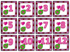 Valentine's Day Calendar Number Visuals - Bilingual Valentine Day Calendar, Valentines Day, Calendar Numbers, French Classroom, 100th Day, Classroom Activities, Classroom Management, 9 And 10, Holiday Decor