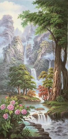 New landscape art painting canvases Ideas Fantasy Landscape, Landscape Art, Landscape Paintings, Landscape Photography, Beautiful Nature Pictures, Beautiful Nature Wallpaper, Beautiful Landscapes, Beautiful Wall, Landscape Drawings