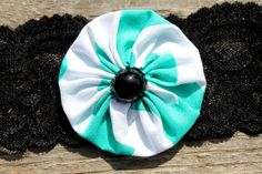 Turquoise Stripe Handsewn Flower with Black Bead by RuralHaze, $4.49