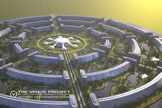 Circular Cities Circular Cities - The Circular Arrangement - Aerial view on one of the circular cities. - The Venus Project proposes a circular city plan that would utilize the most sophisticated available resources and construction techniques. Futuristic City, Futuristic Design, Futuristic Architecture, Industrial Architecture, Minimalist Architecture, Future City, Architecture Design, Museum Architecture, Arcology