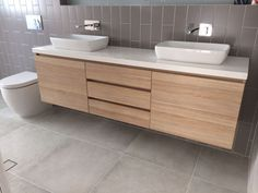Natural Oak Ravine Finish Melamine with Stone Benchtop. Vanity Designed and Manufactured by Beachside Kitchens Central Coast Oak Bathroom, Family Bathroom, Laundry In Bathroom, Bathroom Renos, Bathroom Layout, Bathroom Renovations, Bathroom Furniture, Bathroom Interior, Modern Bathroom