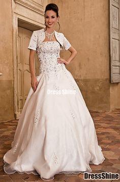 Specials Plus Size Wedding Dress Ball Gown Floor Length Taffeta Satin  Strapless With Satin Wrap Free Measurement b194bb439ecb