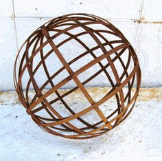 18 Metal Strap Ball - Wrought Iron Yard Art Metal Garden Yard Art Balls Spheres The 18 diameter garden sphere is made with wide metal strap. Great