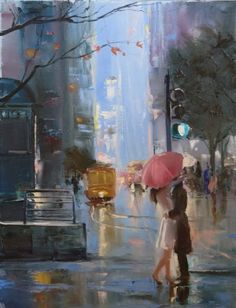 The amazing oil paintings on canvas by the artist Christina Nguyen.I really like this painting! Art And Illustration, Umbrella Art, Arte Pop, Beautiful Paintings, Belle Photo, Love Art, Painting Inspiration, Painting & Drawing, Artist Painting