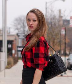 Old Navy Buffalo Plaid Flannel Boyfriend Shirt, H&M Pencil Skirt, Kate Spade Satchel
