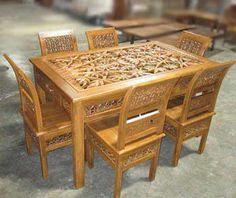 Set table Jepara carving teak dining chairs | Teak Wood Carving Furniture