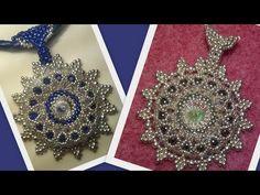 Beaded Shiny Rivoli Pendant or Brooche Beading Tutorial by HoneyBeads (Photo tutorial) - YouTube