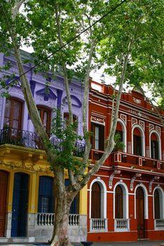 Casas pintadas en el Barrio Reus.-Montevideo.Uruguay