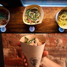 So What's the Hottest Late-Night Food-on-the-Go? But of Course, It's Spaghetti Cones, Silly! Takeaway Packaging, Food Packaging Design, Food Truck Design, Food Design, Bar Restaurant Design, Colorful Restaurant, Design Café, Bag Design, Design Ideas