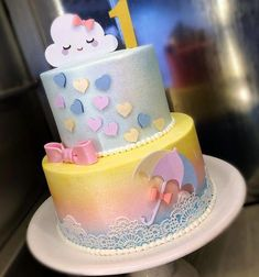 No photo description available. Cloud Party, Cloud Cake, Rabbit Cake, Baby Birthday Cakes, Funny Cake, Eat This, Fondant Toppers, Rainbow Baby, Girl Cakes