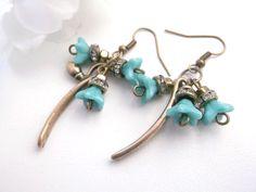 Blue flower dangle blue flower earrings czech by Jewelry2Heart