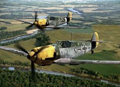 Two in flight during World War II. The one in front is being flown by the renowned Luftwaffe ace Adolf Galland. This type of plane was also known as a Messerschmitt (hence Aircraft Photos, Ww2 Aircraft, Fighter Aircraft, Military Aircraft, Fighter Jets, Adolf Galland, Luftwaffe, Image Avion, Focke Wulf 190