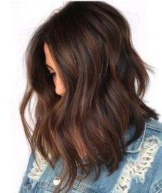 Babylights for Dark Hair Natural Brown Hair, Honey Brown Hair, Short Brown Hair, Thick Hair, Short Hair, Brown Lob, Rich Brown Hair, Brown Hair Color Shades, Hair Color For Black Hair